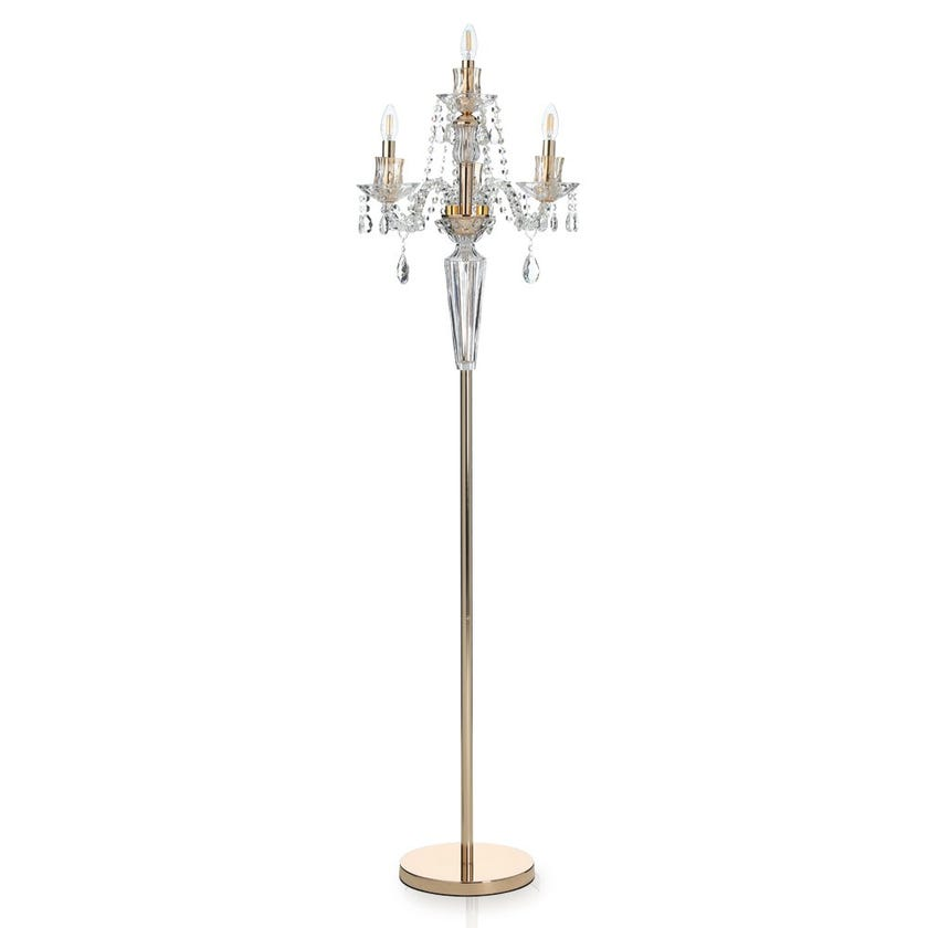 Maya Glass Floor Lamp, French Gold & Champagne – 48x68 cms