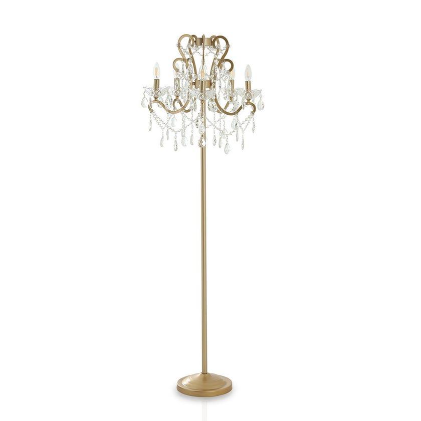Mazna Floor Lamp, Gold & Clear – 56x166 cms
