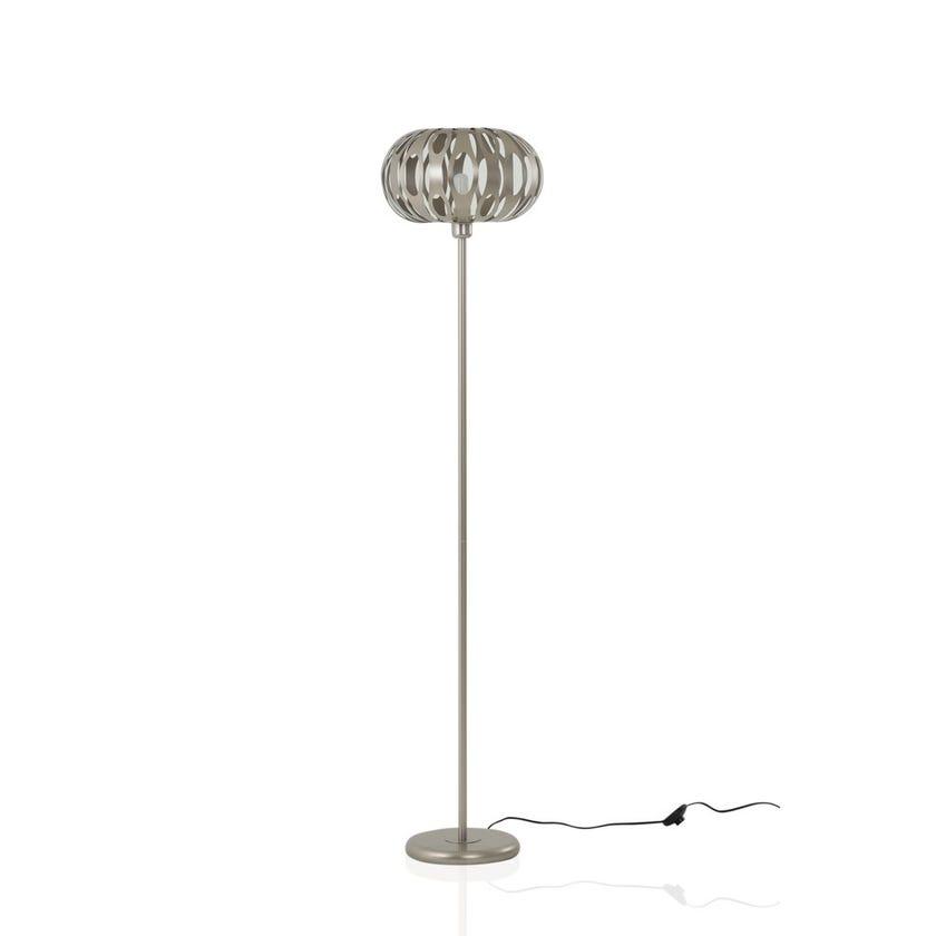 Metallic Floor Lamp, Nickel – 35x160 cms