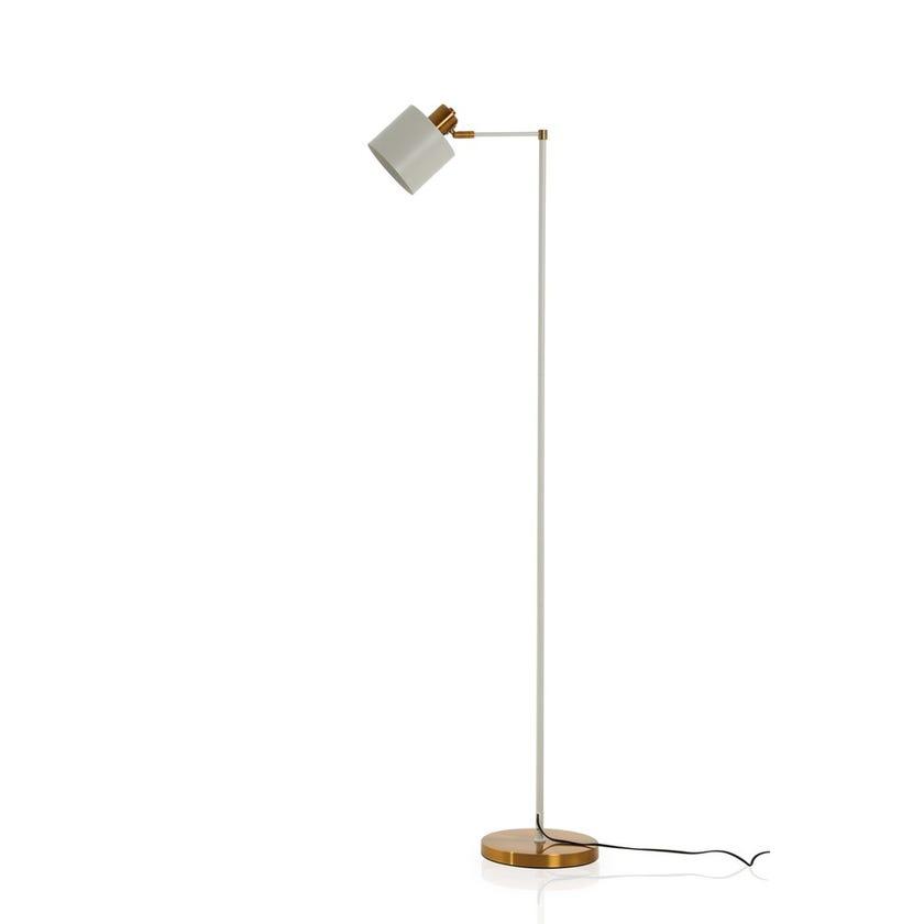 Carla Floor Lamp, White & Copper – 46x156 cms