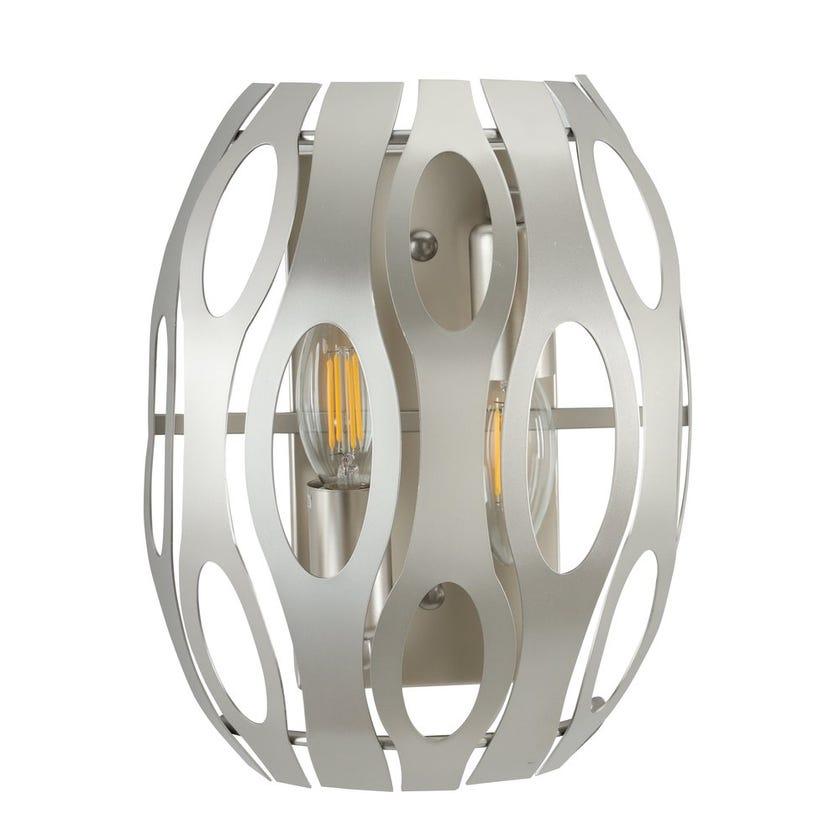 Metallic Wall Lamp, Nickel – 20x125x25 cms