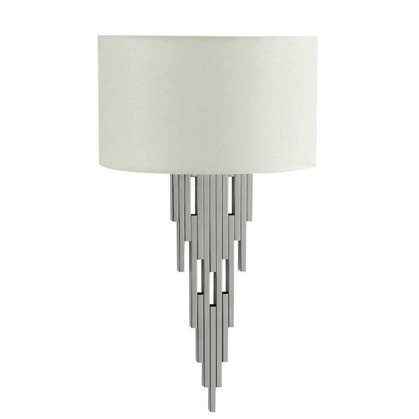 Orsha Wall Lamp with Shade, Chrome & Beige – 35x60 cms