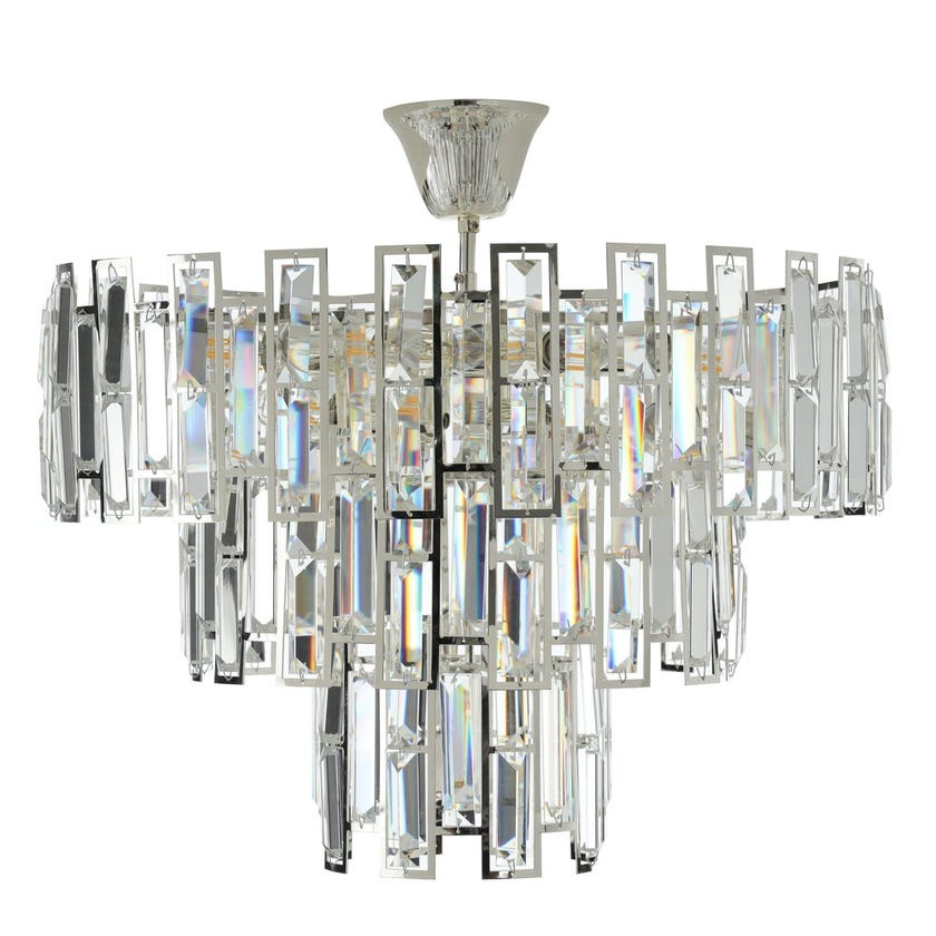 Marlow Crystal Ceiling Lamp, Silver & Clear – 56x48 cms