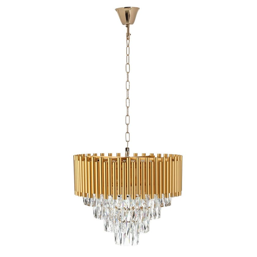 Scion Crystal Pendant Lamp, French Gold & Clear - 50x35 cms