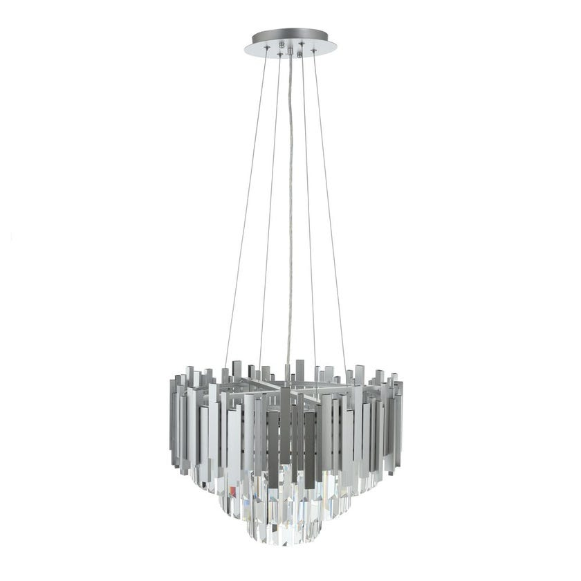 Delicate Pendant Lamp, Silver & Clear – 50x39 cms