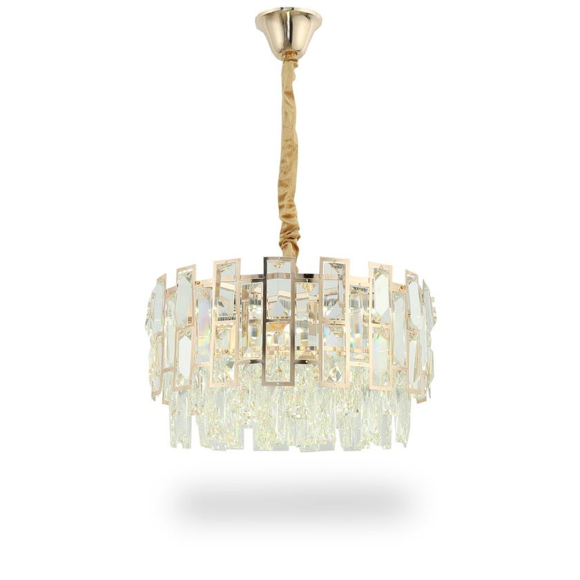 Solace Pendant Lamp, French Gold & Clear – 40x100 cms