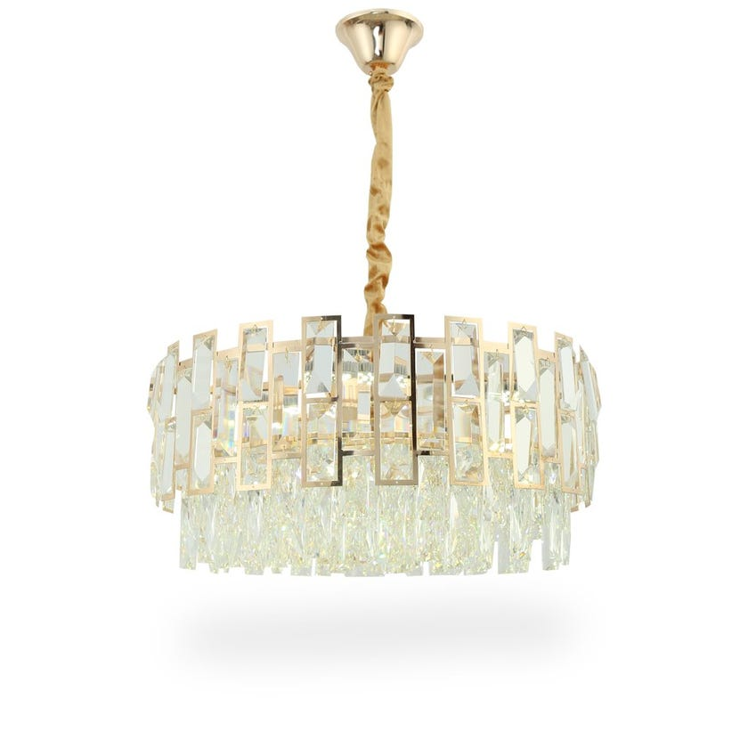 Solace Pendant Lamp, French Gold & Clear – 50x100 cms