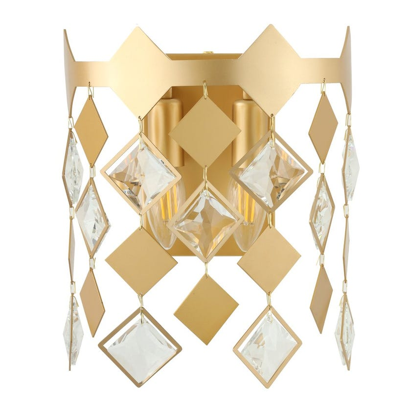 Velour Crystal Wall Lamp, Gold & Clear – 24x32 cms