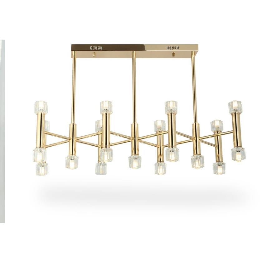 Soho Ceiling Lamp, French Gold & Clear – 80x65 cms