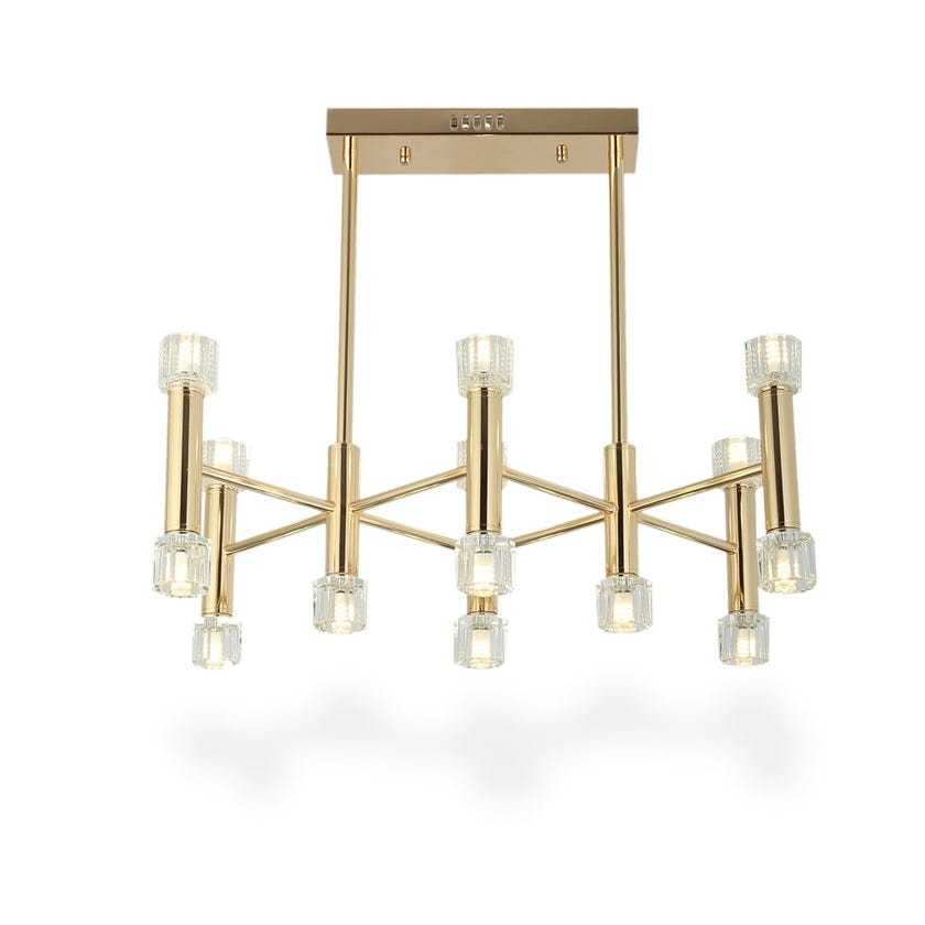 Soho Ceiling Lamp, French Gold & Clear – 55x65 cms