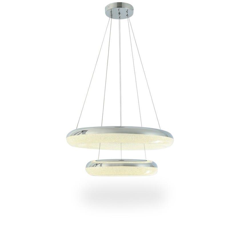 Mia LED Pendant Lamp, Chrome & Matte White – 60x100 cms
