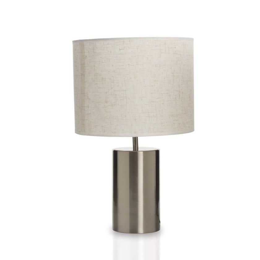 Joe Table Lamp, Nickel & Beige – 25x43 cms