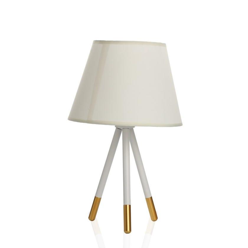Ann Table Lamp, White & Gold - 25x43 cms