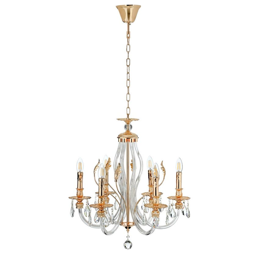 Myrean Glass Pendant Lamp, French Gold & Clear - 58 x 62 cms