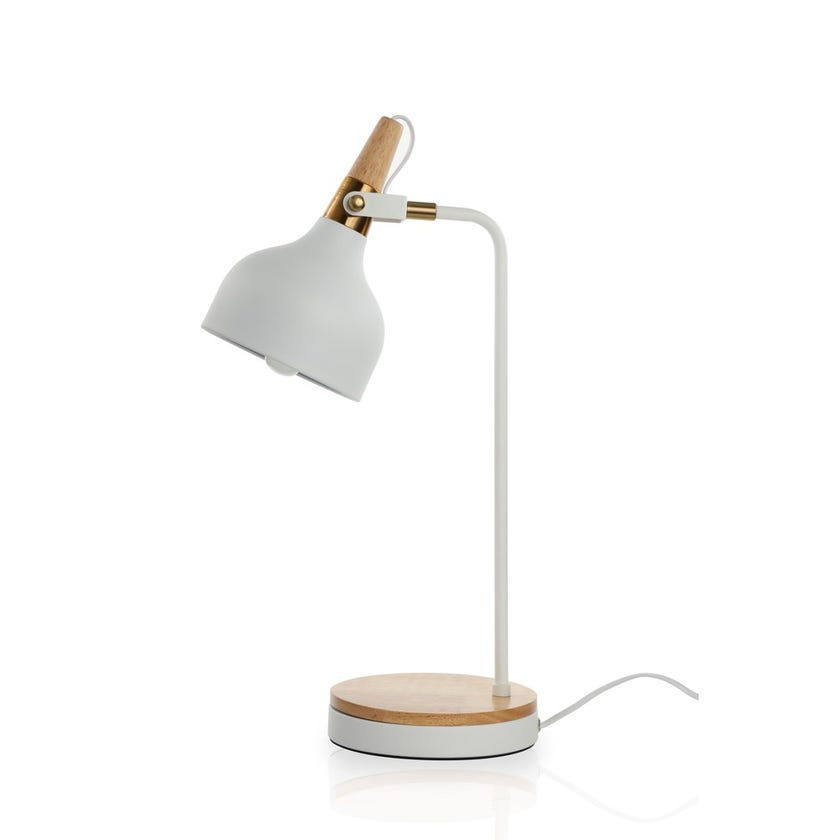 Mcallen Study Table Lamp, White -22x56 cms