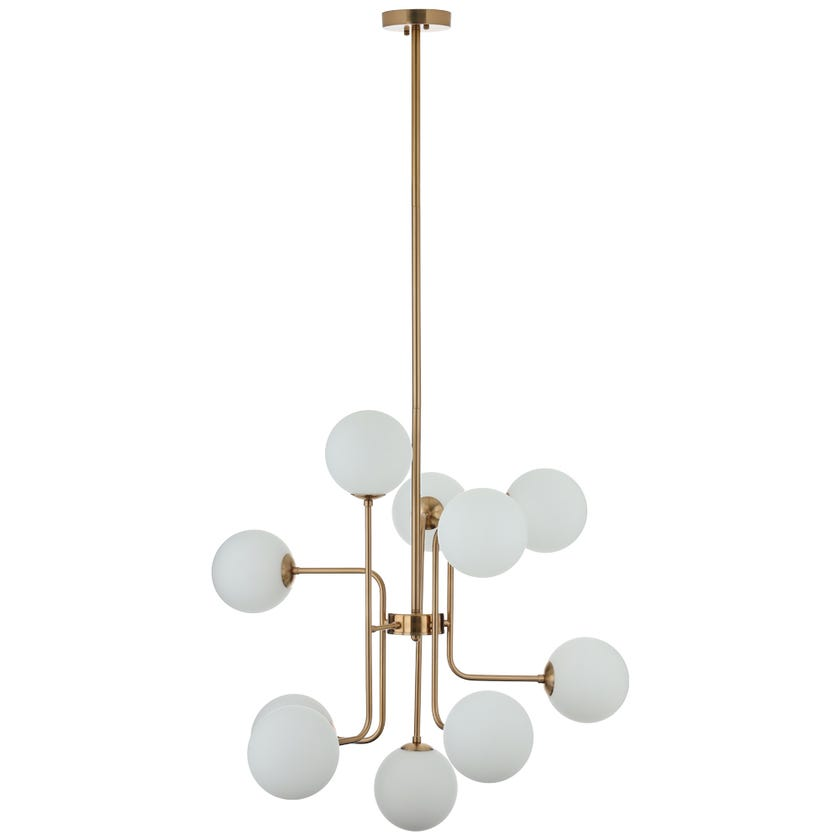 Burges Pendant Lamp, Antique Brass & White – 76x135 cms