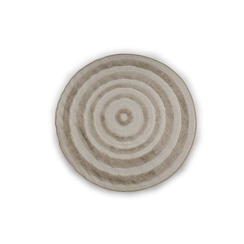 Round Ritual Rug (White and Beige, Polypropylene, 160 x 160 cms )
