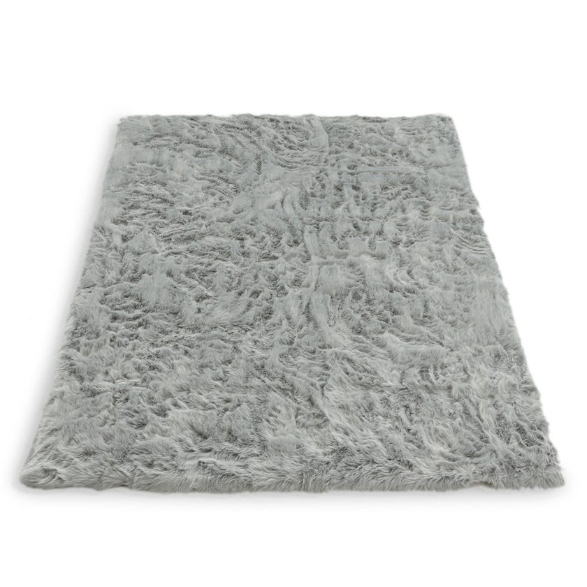 Sheepskin Woven Carpet (Light silver, Polyacrylic, 160 X 230 cms)