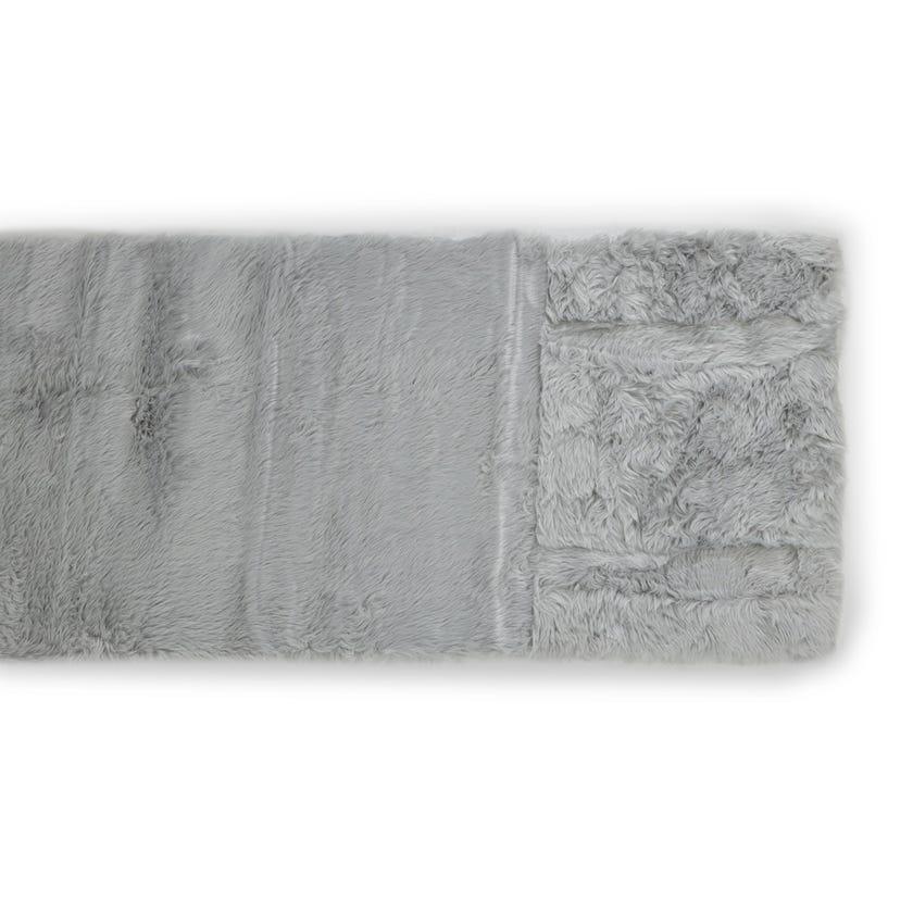 Sheepskin Woven Carpet (Light silver, Polyacrylic, 80 X 200 cms)
