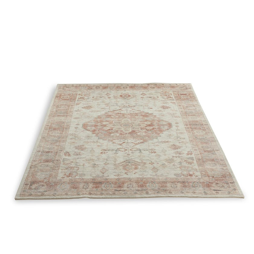 Vintage Handmade Rectangle Rug Large (Cream & Red, Polyester, 200 x 300 cms)