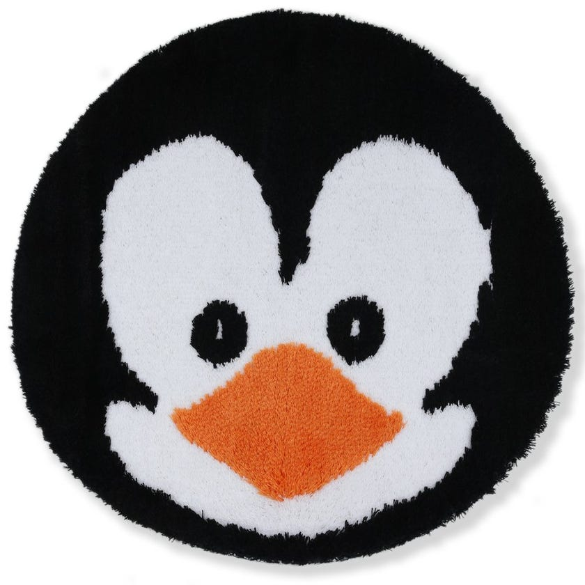 Penguin Face Kids Bath Rug, Multicolour