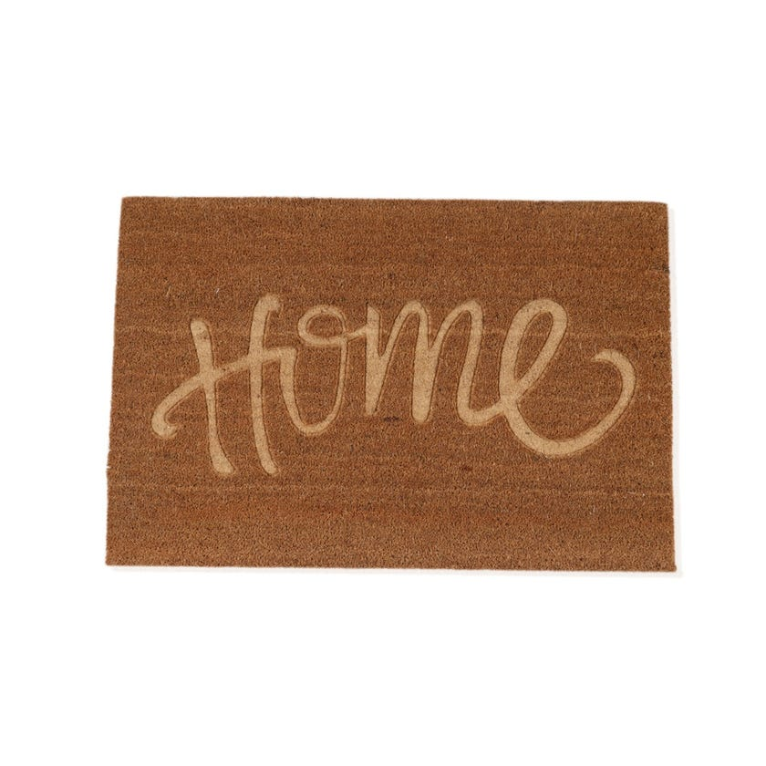 Home Coir Embossed Rectangle Mat (Natural, 60 x 90 cms)