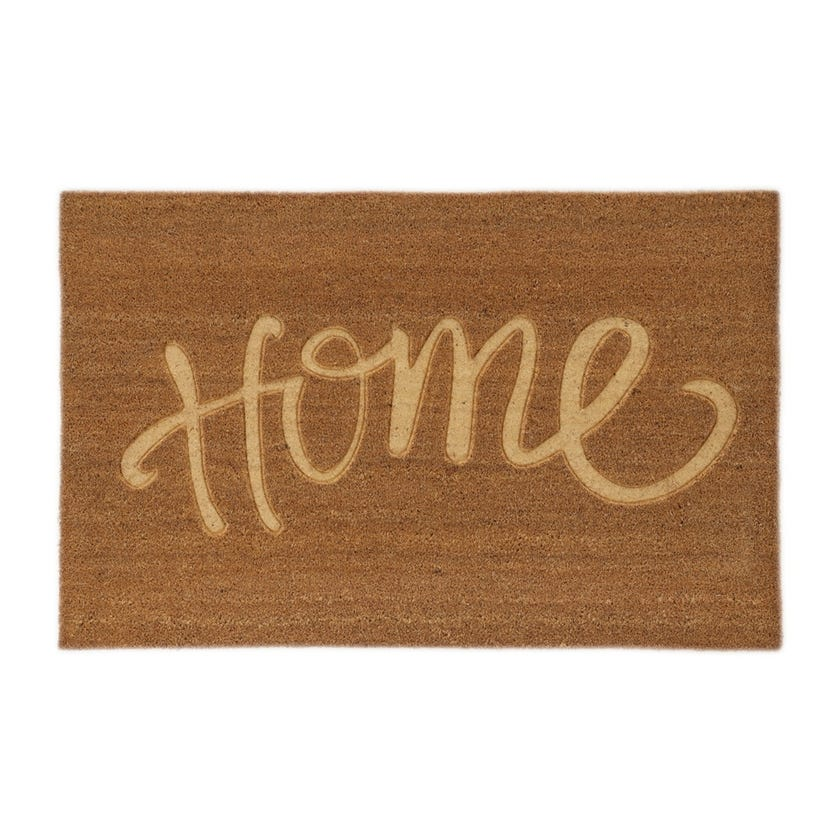 Home Coir Embossed Rectangle Mat (Natural, 75 x 120 cms)