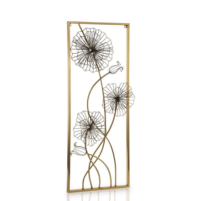Dandelion 1 Metal Wall Art (33 x 85 cms, Gold)
