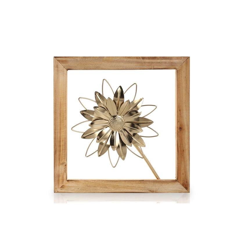 Flower 1 with Wooden Frame (30 x 30 cms, Gold)