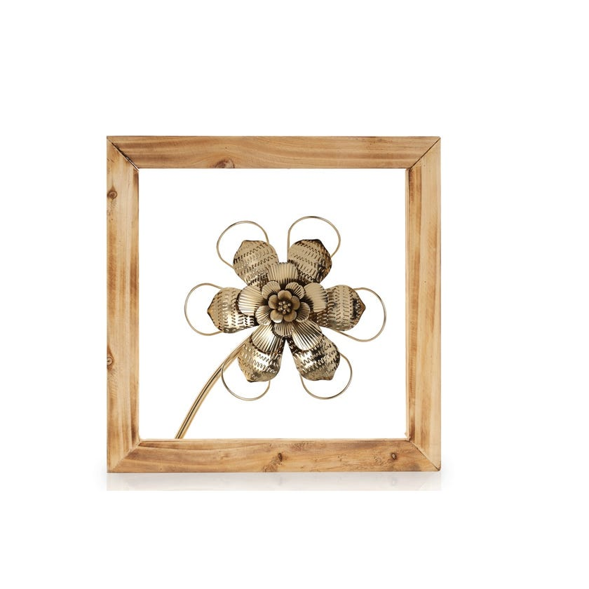 Flower 2 with Wooden Frame (30 x 30 cms, Gold)