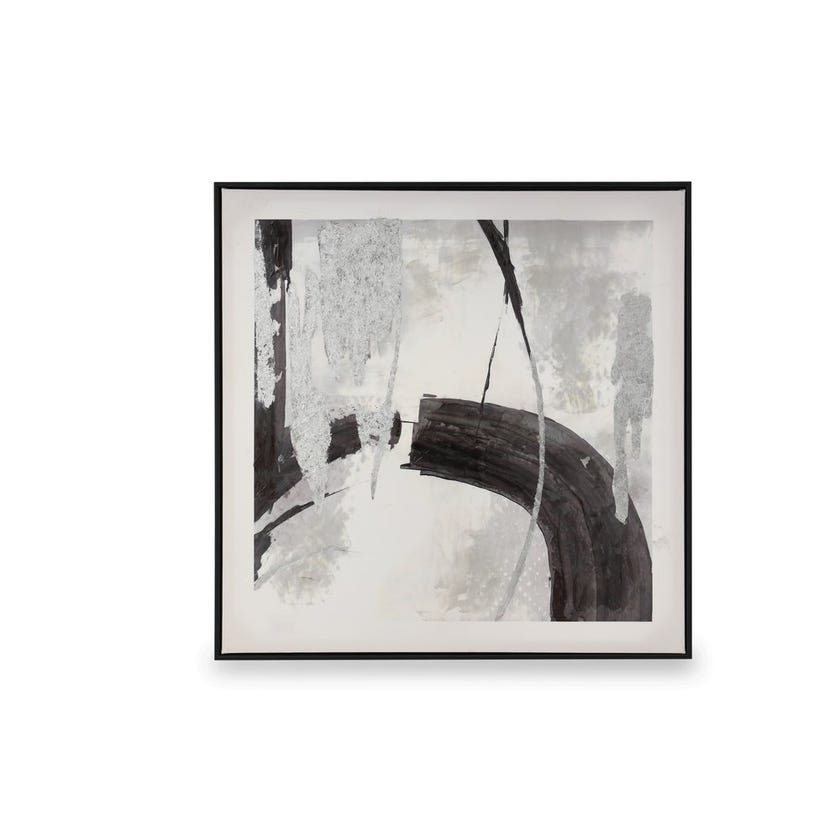 Printed Framed Art with Glass, Noctrine (White/Grey/Black/Silver)