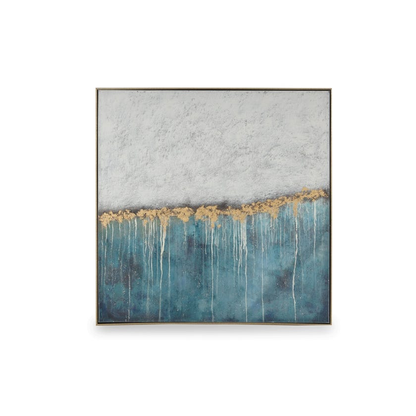 Handpainted Canvas Art with Frame, Nature Dreams (White/Blue/Brown/Gold Foil)