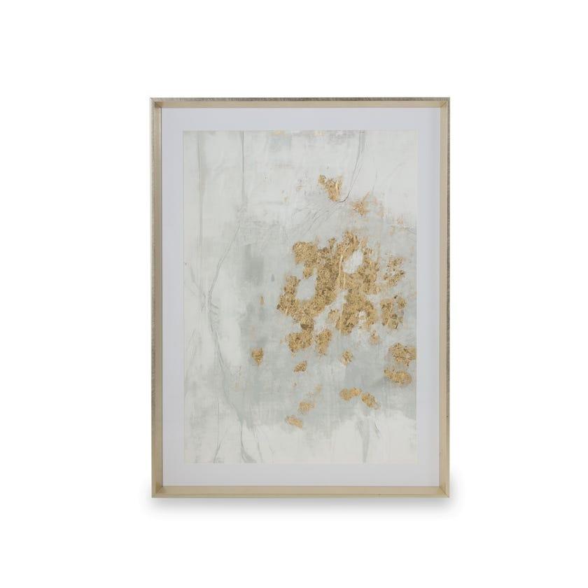 Printed Framed Art with Glass, Innocent Flip (Grey/White/Gold Foil)