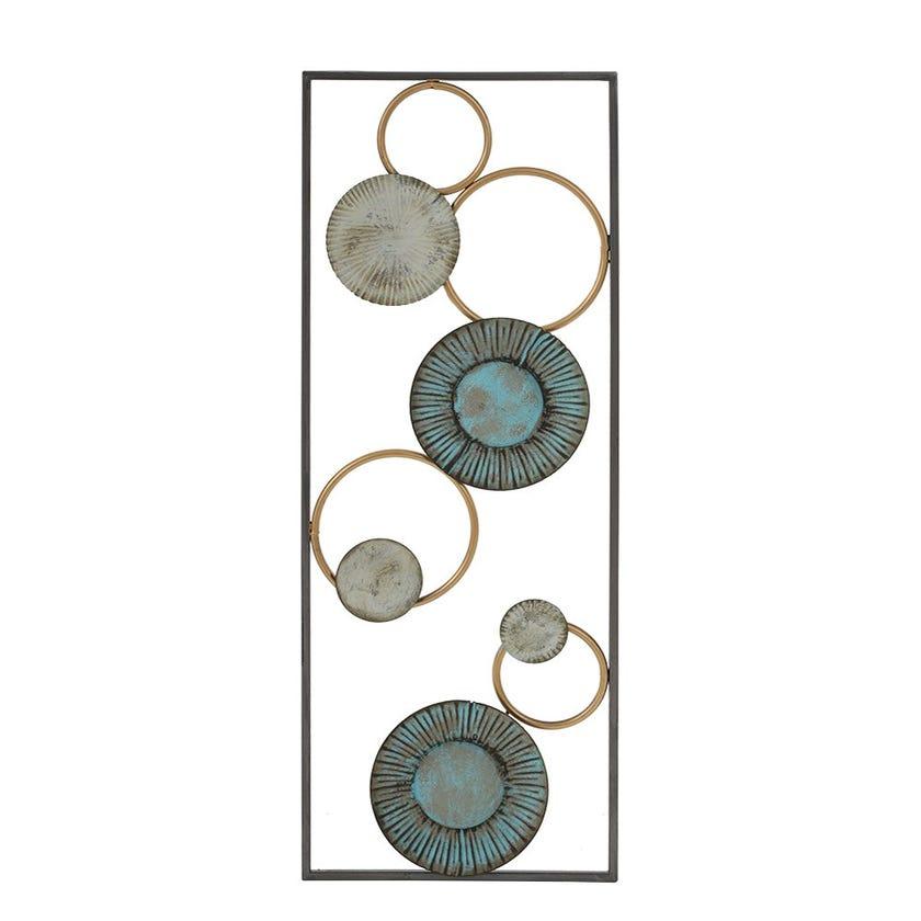 Brass Circles Metal Wall Décor, Multicolour