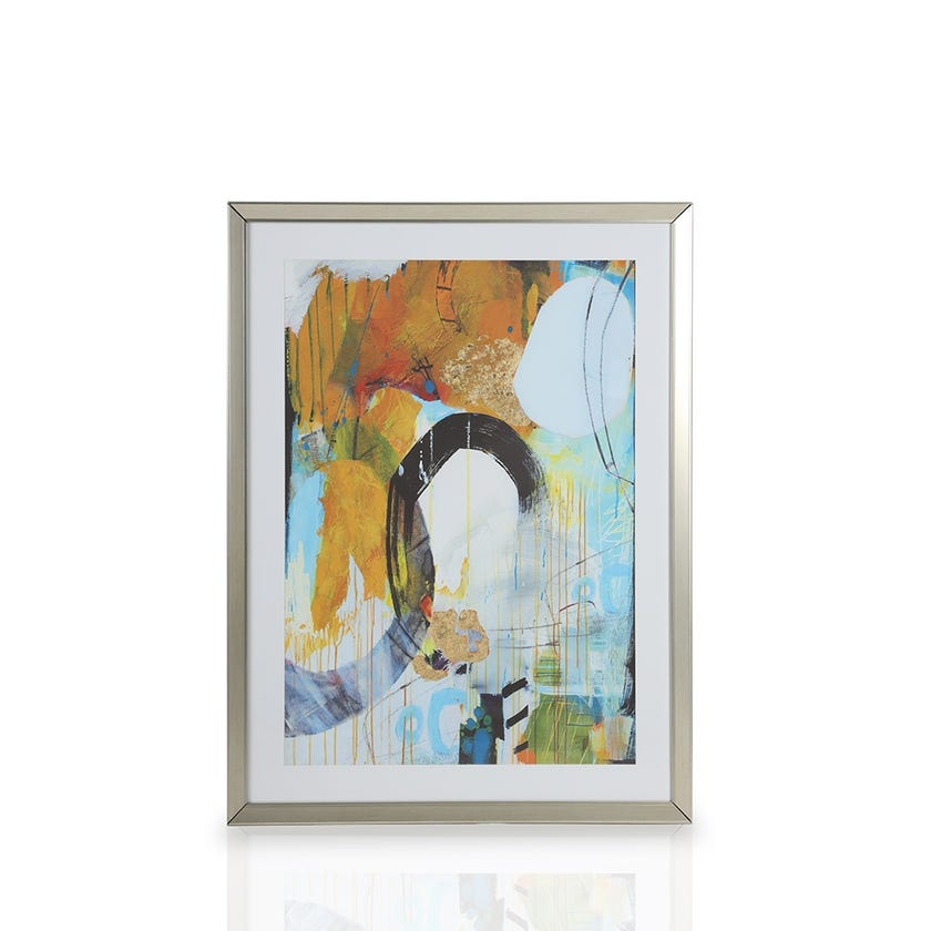 Printed Framed Art with Glass, Abstract Circles (Multicolour)