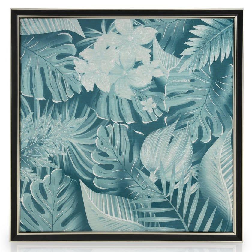 Tropical Leaf Acrylic Art with Frame, Multicolour - 60x60 cms