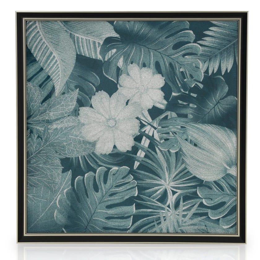 Tropical Floral Acrylic Art with Frame, Multicolour - 60x60 cms