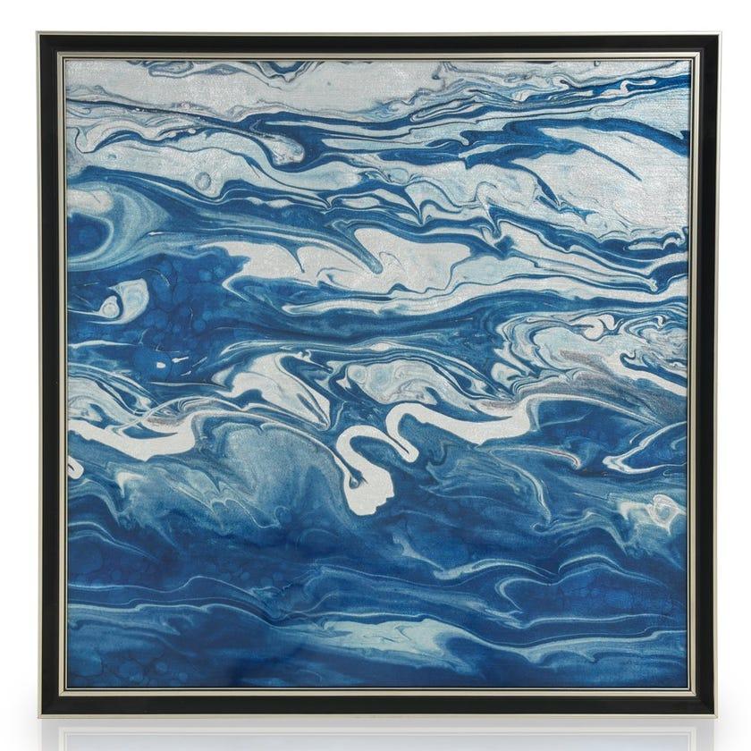 Ocean Waves Acrylic Art with Frame, Multicolour - 60x60 cms