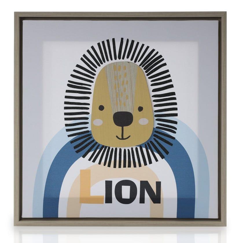 Lion Framed Art, Multicolour – 40x40 cms