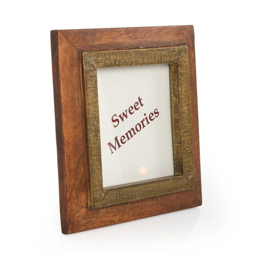 Acacia Wooden Square Photo Frame - 4 x 4 inches