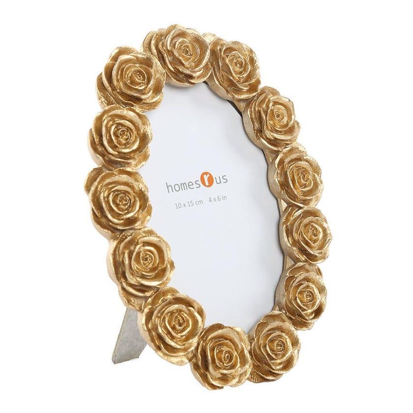 Gold Rose Rectangular Photo Frame - 4 x 6 inches