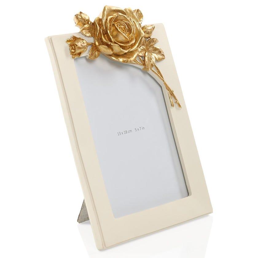 Gold Rose Rectangular Photo Frame - 5 x 7 inches