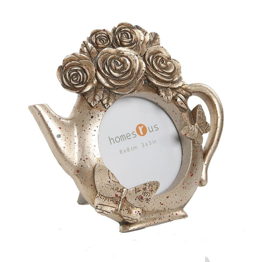 Flowers & Plants Teapot Photo Frame - 3.5 x 3.5 inches