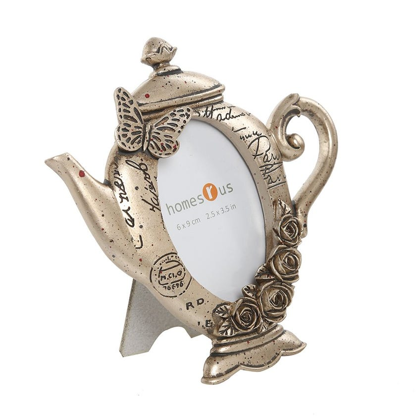 Butterfly & Rose Teapot Photo Frame - 2.5 x 3.5 inches