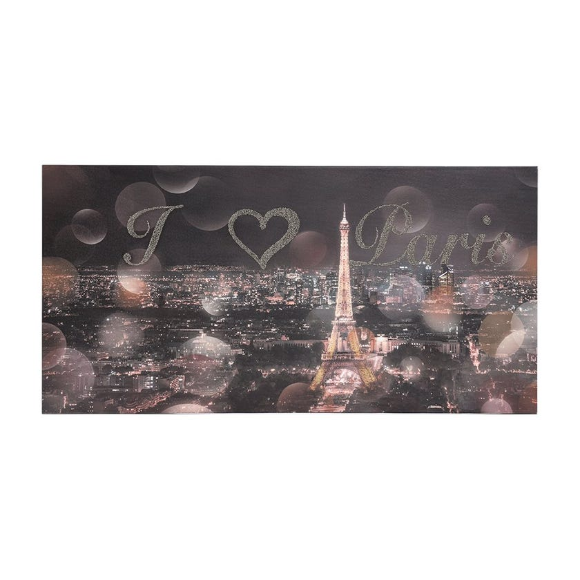 I Love Paris Printed Canvas (40 x 80 cms, Multicolour)