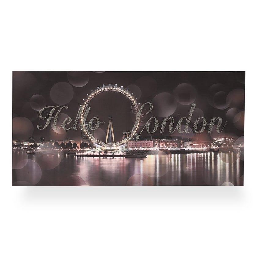 Hello-London Printed Canvas (40 x 80 cms, Multicolour)