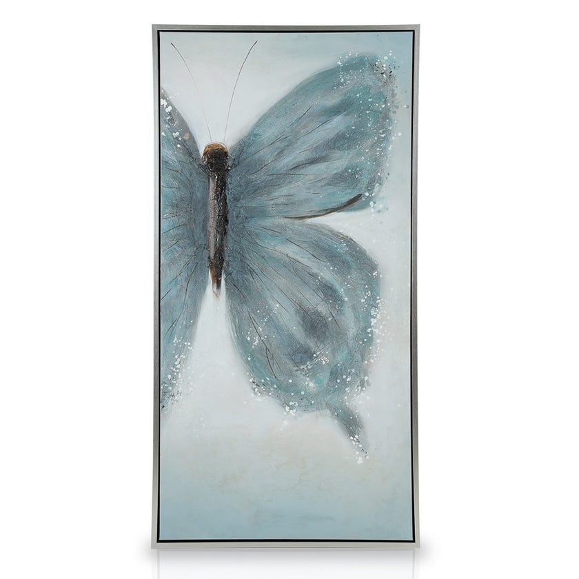 Butterfly Oil Painting with Frame, Multicolour – 75 x 150 cms