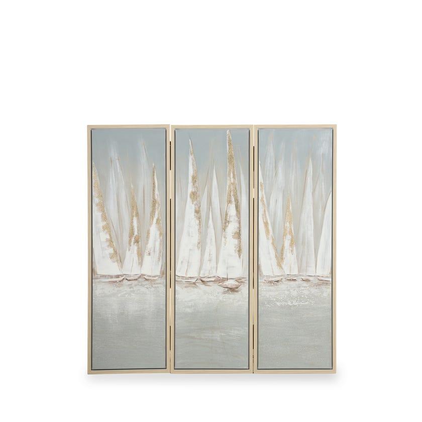 Set of 3 Framed Canvas Art, Boats (40 cm X 120 cm - Multicolour/Gold Foil)