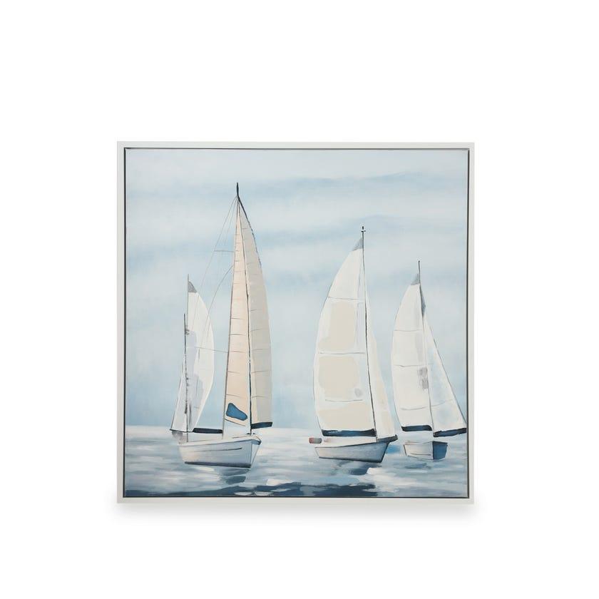 Framed Canvas Art, Boats (100 cm X 100 cm - Multicolour)