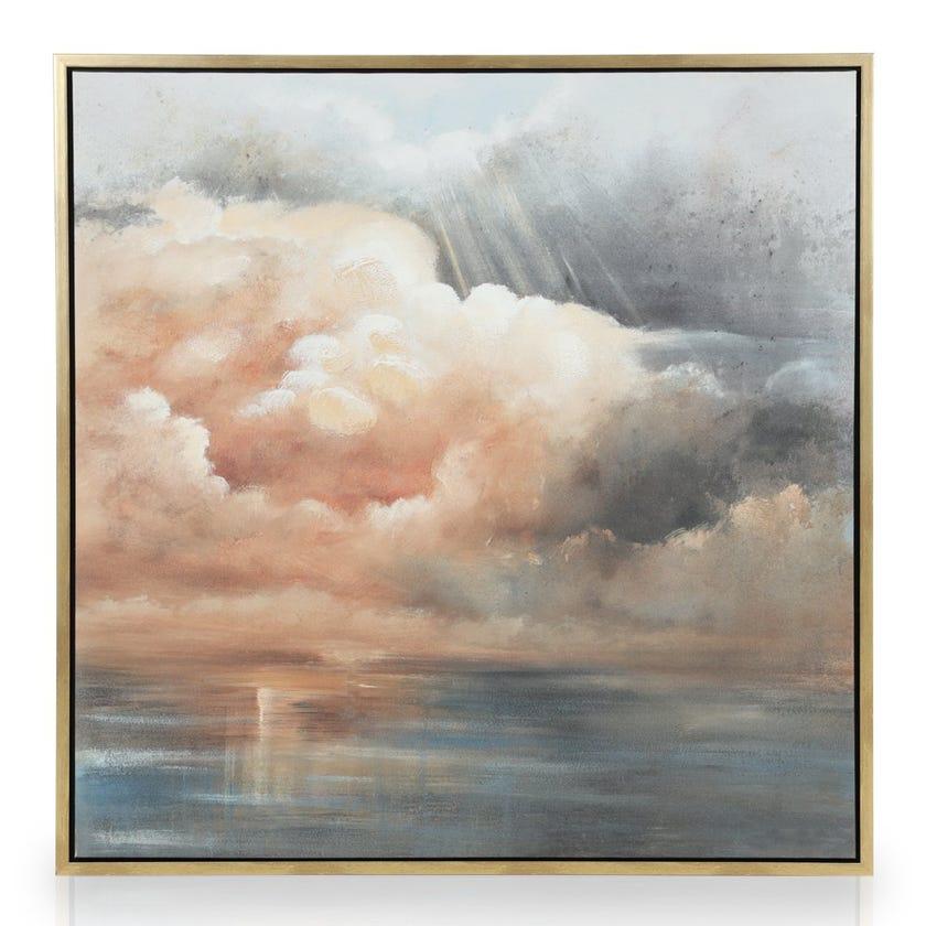 Framed Canvas Art, Clouds (100 cm X 100 cm - Multicolour)
